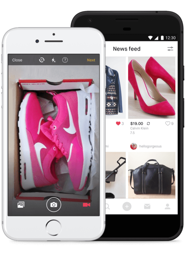 Photo of shoes and clothes online and on phone via app